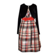 Bonnie Jean® Plaid Dress and Cardigan - Girls Plus