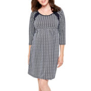 Maternity 3/4-Sleeve Print Knit Dress - Plus