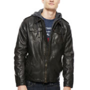 Levi's® Hooded Faux-Leather Trucker Jacket