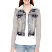 Wallflower Long-Sleeve Hooded Denim Jacket