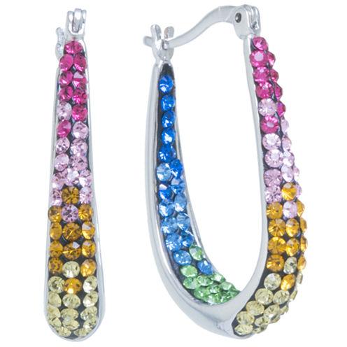Sparkle Allure Crystal Silver Over Brass Hoop Earrings