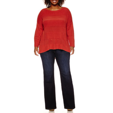 jcpenney.com | Stylus™ 3/4-Sleeve Striped Layered Sweater or Bootcut Jeans - Plus