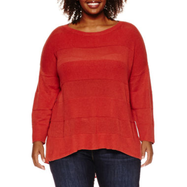 jcpenney.com | Stylus™ 3/4-Sleeve Striped Layered Sweater - Plus
