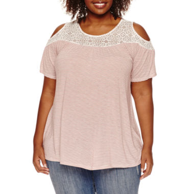jcpenney.com | Stylus™ Short-Sleeve Cold-Shoulder Lace Tee - Plus