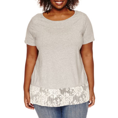 jcpenney.com | Stylus™ Short-Sleeve Two-for-One Lace Tee - Plus