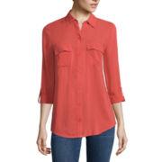 a.n.a® Tab-Sleeve Flap-Pocket Blouse - Tall