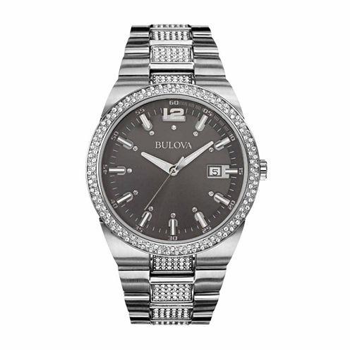 Bulova Mens Silver Tone Bracelet Watch-96b221
