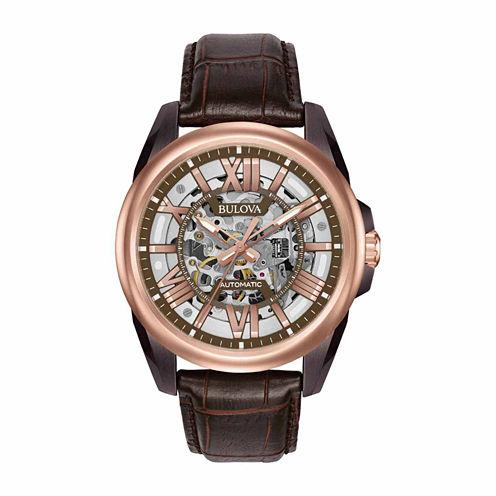 Bulova Mens Brown Strap Watch-98a165