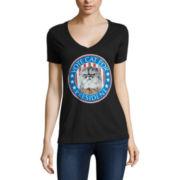 Short Sleeve V Neck T-Shirt-Juniors
