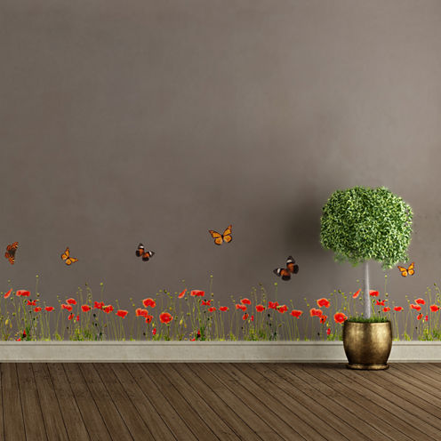 Home Decor Line Poppies And Butterflies Border Decal