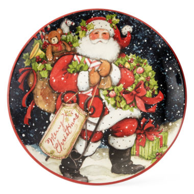 jcpenney.com | Certified International Snowy Santa Set of 4 Dinner Plates