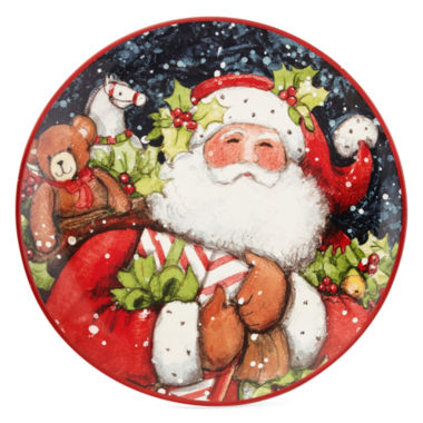 jcpenney.com | Certified International Snowy Santa Set of 4 Dessert Plates