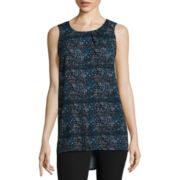 Worthington® Sleeveless Metal-Trim Mockneck Tunic Top