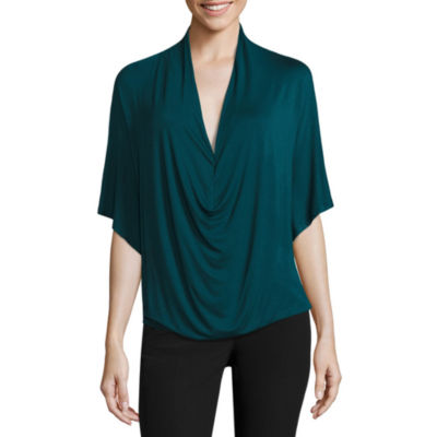Worthington® Edition Short-Sleeve Drape Front Top