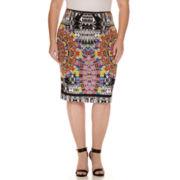 Bisou Bisou® Slit-Back Scuba Pencil Skirt - Plus