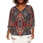 a.n.a® Double V-Neck Blouse - Plus