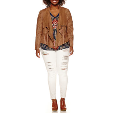 jcpenney.com | a.n.a® Faux-Suede Drape-Front Jacket Double V-neck Blouse or Jeggings
