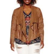 a.n.a® Faux-Suede Drape-Front Jacket - Plus
