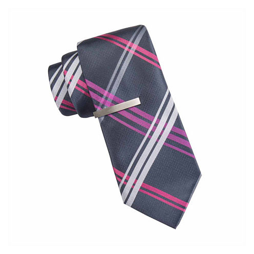 JF J. Ferrar® Ocean Parkway Open Plaid Tie and Tie Bar Set