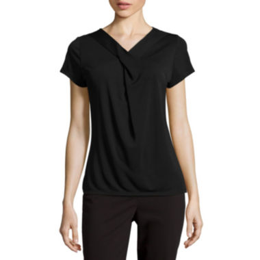 jcpenney.com | Liz Claiborne® Short-Sleeve Criss Cross Twist Extended-Shoulder Top - Petite