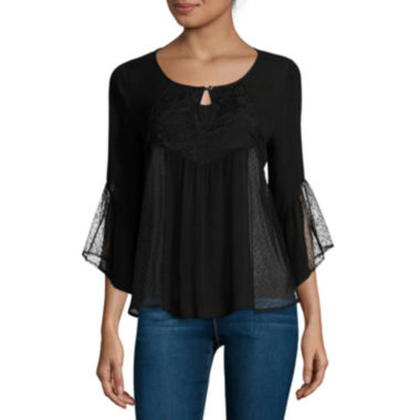 jcpenney.com | Trixxi® 3/4-Sleeve Lace Peasant Top - Juniors
