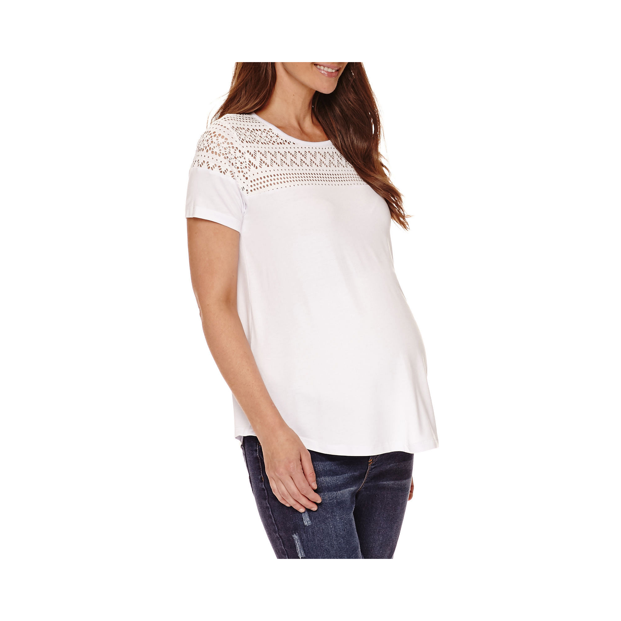 Maternity Lace-Yoke Swing Tee - Plus plus size,  plus size fashion plus size appare