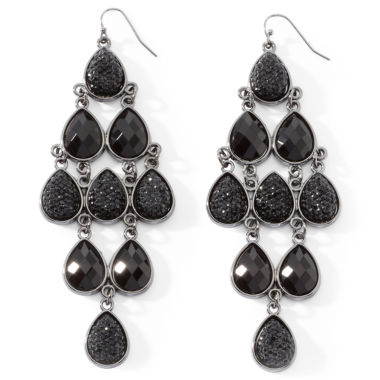 jcpenney.com | Mixit™ Faceted Jet Bead Chandelier Earrings
