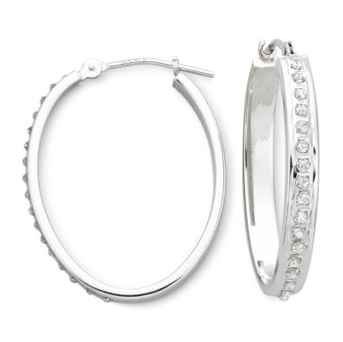 jcpenney.com | Diamond Fascination™ 14K White Gold Oval Hoop Earrings