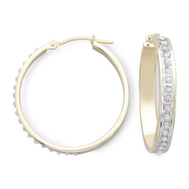 jcpenney.com | Diamond Fascination™ 14K Yellow Gold Medium Hoop Earrings