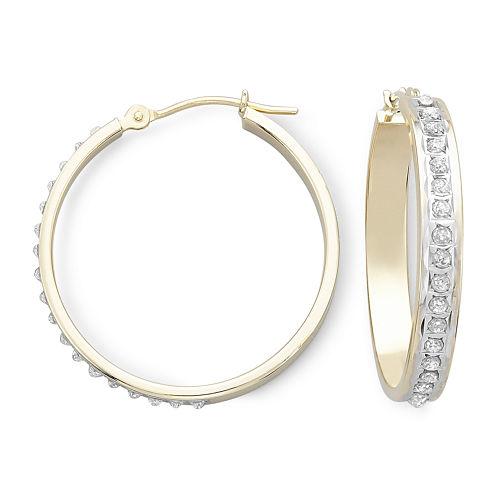 Diamond Fascination™ 14K Yellow Gold Medium Hoop Earrings