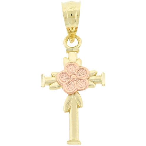 Two-Tone 10K Gold Cross Charm