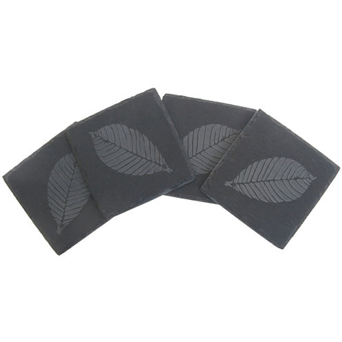 Thirstystone® Etched Leaf Set of 4 Slate Coasters