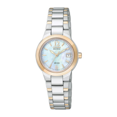 jcpenney.com | Citizen® Eco-Drive® Womens Two-Tone Mother-of-Pearl Watch EW1676-52D