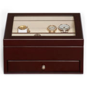 Mele & Co. Womens Merlot-Finish Glass-Top Jewelry Box