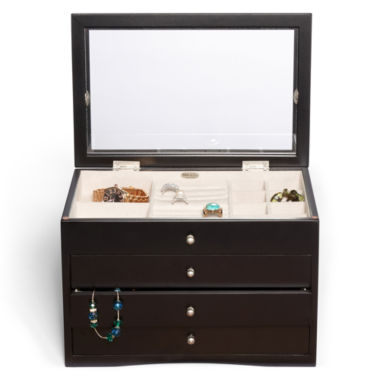 jcpenney.com | Mele & Co. Womens Java-Finish Glass-Top Jewelry Box