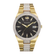 Bulova® Mens Crystal-Accent Two-Tone Stainless Steel Watch 98B235