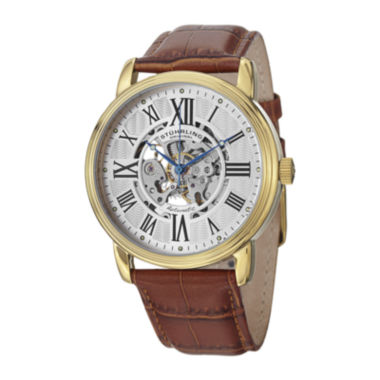 jcpenney.com | Stührling® Original Mens Brown Leather Strap Skeleton Automatic Watch