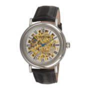 Stührling® Mens Black Leather Strap Skeleton Automatic Watch