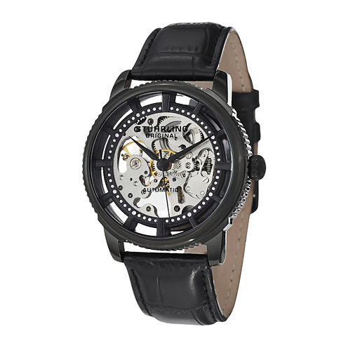 Stührling® Original Mens Black Dial Black Leather Strap Skeleton Automatic Watch