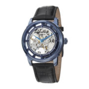 Stührling® Mens Blue Dial Black Leather Strap Skeleton Automatic Watch