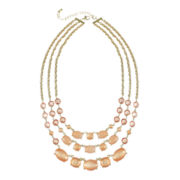 love struck™ Gold-Tone Peach 3-Row Necklace