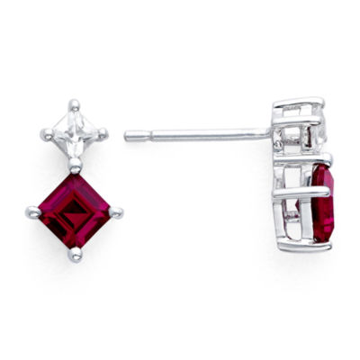 Sterling Silver Lab Created Ruby White Shire Earrings
