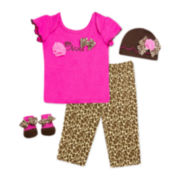4-pc. Hat, Top, Pants and Socks Set – Girls newborn-3m