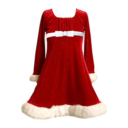 Bonnie Jean® Long-Sleeve Velvet Santa Dress – Girls 7-16
