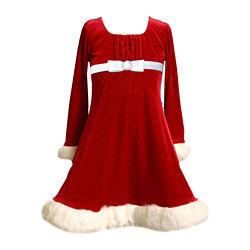 Bonnie Jean® Long-Sleeve Velvet Santa Dress – Girls 7-16