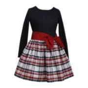 Bonnie Jean® Long-Sleeve Drop Waist Taffeta Dress – Girls 7-16