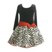 Bonnie Jean® Long-Sleeve Velvet Zebra Print Dress – Girls Plus