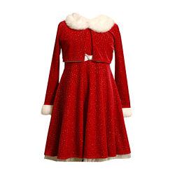 Bonnie Jean® Glitter Jacket Santa Dress – Girls Plus