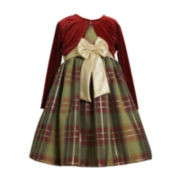 Bonnie Jean® 2-pc. Velvet Cardigan and Plaid Dress – Girls Plus