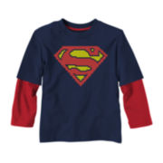 Superman Long-Sleeve Graphic Knit Tee – Boys 2t-5t